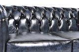 Chesterfield Original Sofá |2 plazas | Cuero | Azul Gastado | 12 años de garantía_