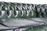 Auténtic Chesterfield Sofá |2 plazas | Cuero | Verde Gastado | 12 años de garantía_