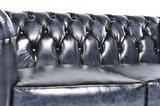 Auténtic Chesterfield Sofá | 4 plazas | Cuero | Azul Gastado | 12 años de garantía_