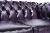 Auténtic Chesterfield Sofá   5 plazas   Cuero   Púrpura Gastado   12 años de garantía_