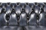 Auténtico Chesterfield Sofá | 5 plazas | Cuero | Azul Gastado | 12 años de garantía_