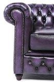 Sillón Auténtic Chesterfield de cuero natural, Púrpura  gastado | 12 años de garantía_