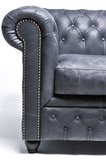 Auténtic Chesterfield  Vintage Sofá | 5 plazas | Cuero | Negro_
