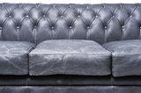 Auténtico Chesterfield Vintage Sofá   4  plazas   Cuero   Negro   12 años de garantía_