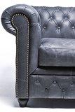 Sillón Auténtic Chesterfield de cuero natural, Negro Vintage | 12 años de garantía_