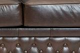 Chesterfield Sofá First Class | 2-plazas | Cuero | marrón oscuro | 5 años de garantía_