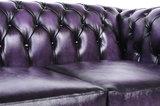 Chesterfield Sofá Original Cuero |1 + 2 plazas | Púrpura Gastado | 12 años de garantía_