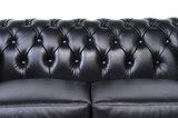 Chesterfield Sofá Original Cuero |1 + 2 plazas | Negro | 12 años de garantía_