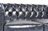 Chesterfield Sofá Original Cuero |2 + 3 plazas | Azul Gastado | 12 años de garantía_
