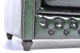 Chesterfield Sofá Original Cuero |1 + 1 + 3 plazas | Verde Gastado | 12 años de garantía_