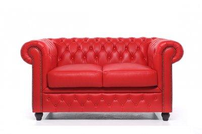 Chesterfield Original Sofá | 2 plazas | Cuero | Rojo | 12 años de garantía