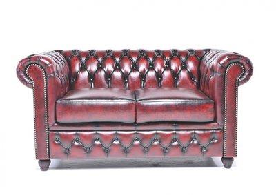Chesterfield Original Sofá | 2 plazas | Cuero | Rojo Gastado | 12 años de garantía