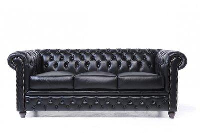 Chesterfield Original Sofá | 3 plazas | Cuero | Negro | 12 años de garantía