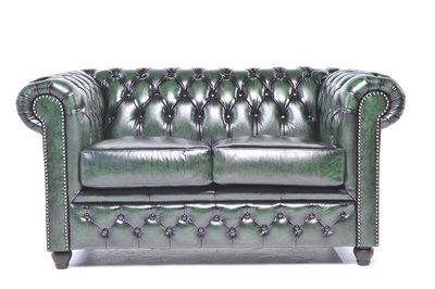 Chesterfield Original Sofá |2 plazas | Cuero | Verde Gastado | 12 años de garantía