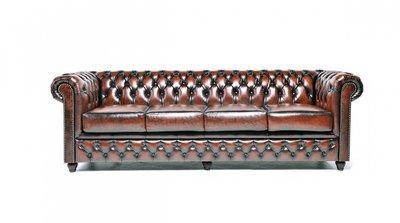 Chesterfield Original Sofá | 4 plazas | Cuero | Marrón Gastado | 12 años de garantía
