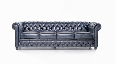 Chesterfield Original Sofá | 4 plazas | Cuero | Azul Gastado | 12 años de garantía