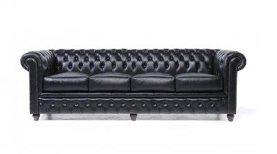 Chesterfield Original Sofá | 4 plazas | Cuero | Negro | 12 años de garantía