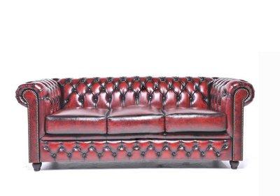 Auténtic Chesterfield Sofá | 3 plazas | Cuero | Rojo Gastado | 12 años de garantía