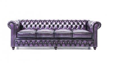 Chesterfield Original Sofá | 4 plazas | Cuero | Púrpura gastado | 12 años de garantía