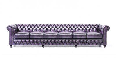 Chesterfield Original Sofá | 6 plazas | Cuero | Púrpura Gastado | 12 años de garantía