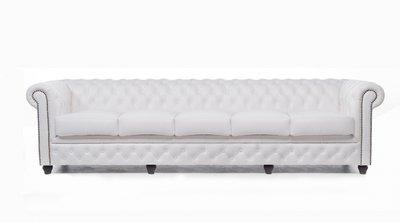 Chesterfield Original Sofá | 5 plazas | Cuero | Blanco | 12 años de garantía
