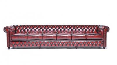 Chesterfield Original Sofá | 6 plazas | Cuero | Rojo Gastado | 12 años de garantía