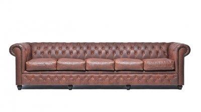 Auténtic Chesterfield Vintage Sofá | 5 plazas | Cuero | Marrón | 12 años de garantía