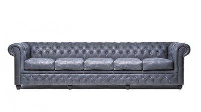 Auténtic Chesterfield  Vintage Sofá | 5 plazas | Cuero | Negro