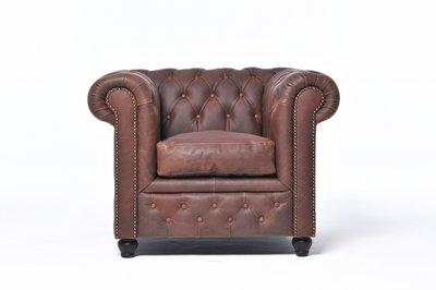 Sillón Auténtic Chesterfield de cuero natural, Marrón Vintage | 12 años de garantía