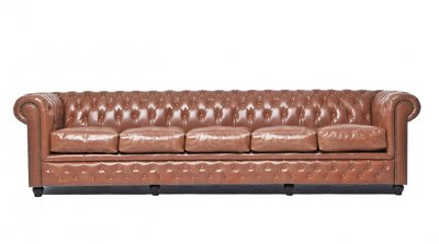 Auténtic Chesterfield Vintage Sofá |5 plazas | Cuero | Moca | 12 años de garantía