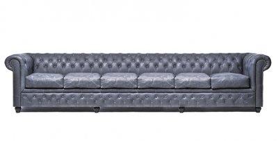 Auténtic Chesterfield Vintage Sofá | 6 plazas | Cuero | Negro | 12 años de garantía