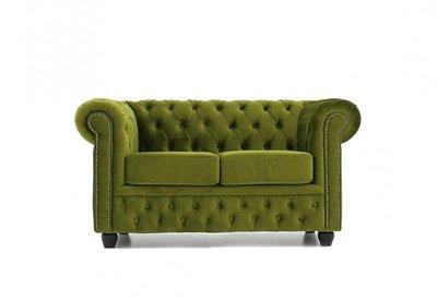 Auténtico Chesterfield Sofá 2 plazas | Terciopelo Verde | 12 años de garantía