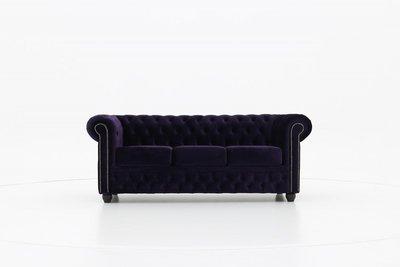 Auténtico Chesterfield Sofá 3 plazas | Terciopelo Púrpura oscuro | 12 años de garantía