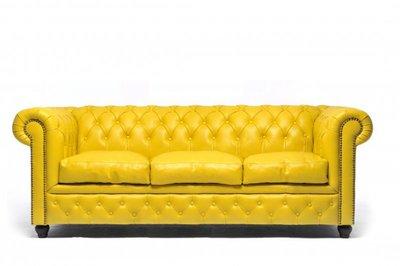 Auténtic Chesterfield Sofá |3 plazas | Cuero | Amarillo | 12 años de garantía