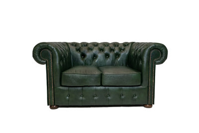 Chesterfield Sofa Class | 2-plazas | Cuero | Cloudy Verde | 5 años de garantía