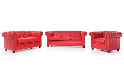 Chesterfield Sofá Original Cuero |1 + 2 + 3 plazas | Rojo | 12 años de garantía