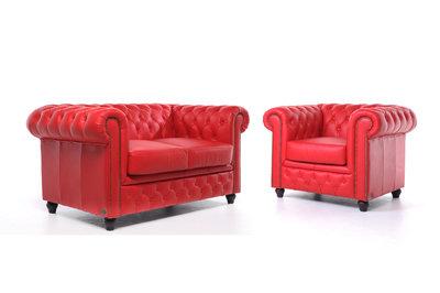 Chesterfield Sofá Original Cuero |1 + 2 plazas | Rojo | 12 años de garantía