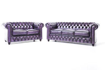 Chesterfield Sofá Original Cuero |2 + 3 plazas | Púrpura Gastado | 12 años de garantía