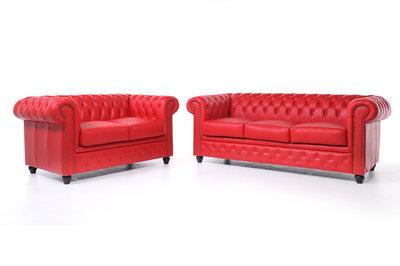 Chesterfield Sofá Original Cuero |2 + 3 plazas | Rojo | 12 años de garantía
