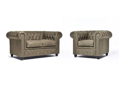 Chesterfield Sofá Vintage Cuero |1 + 2 plazas | Alabama C1057 | 12 años de garantía