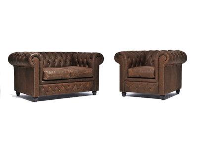 Chesterfield Sofá Vintage Cuero |1 + 2 plazas | C0869 | 12 años de garantía