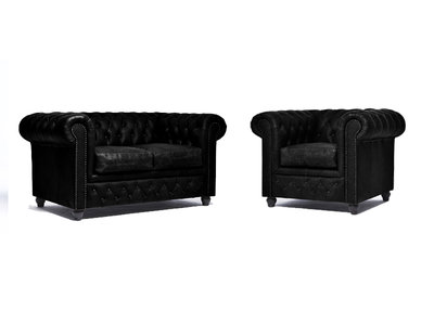 Chesterfield Sofá Vintage Cuero |1 + 2 plazas | C0871 | 12 años de garantía