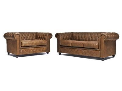Chesterfield Sofá Vintage Cuero |2 + 3 plazas | Alabama C1059 | 12 años de garantía
