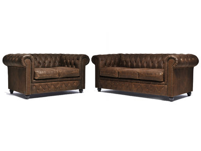 Chesterfield Sofá Vintage Cuero |2 + 3 plazas | C0869 | 12 años de garantía