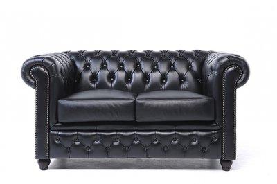 Chesterfield Original Sofá  | 2 plazas | Cuero | Negro | 12 años de garantía