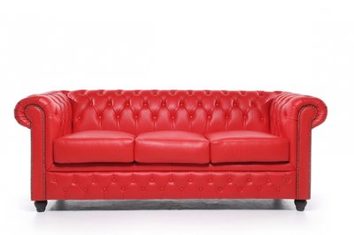 Auténtic Chesterfield Sofá | 3 plazas | Cuero | Rojo | 12 años de garantía
