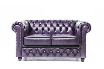Auténtic Chesterfield Sofá | 2 plazas | Cuero | Púrpura Gastado | 12 años de garantía