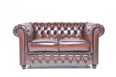 Auténtic Chesterfield  Vintage Sofá | 2 plazas | Cuero | Marrón Gastado
