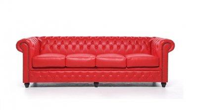 Chesterfield Original Sofá | 4 plazas | Cuero | Rojo | 12 años de garantía