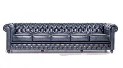 Auténtico Chesterfield Sofá | 5 plazas | Cuero | Azul Gastado | 12 años de garantía
